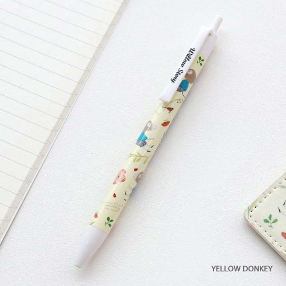 Yellow donkey - Willow pattern 0.5mm knock ballpoint pen black ink