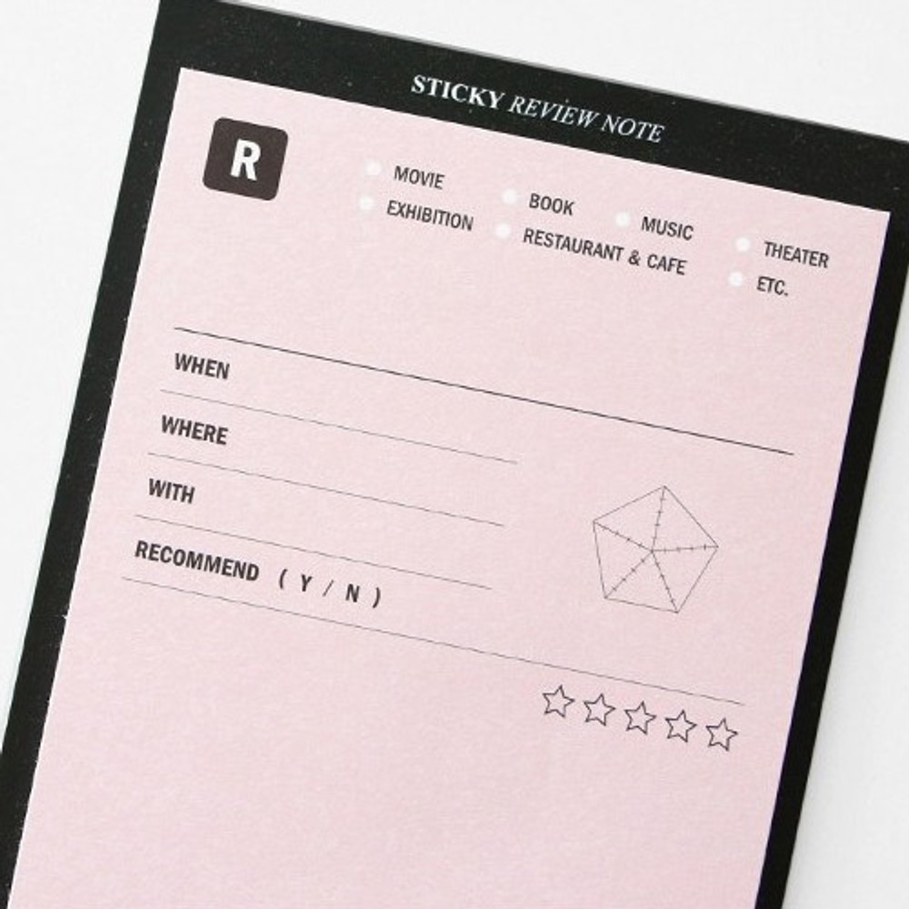Review note sticky notepad