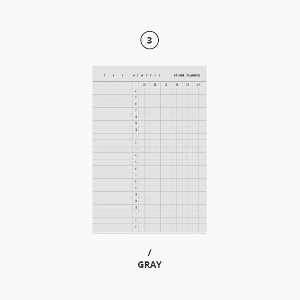 Gray - 10 minutes daily plan memo notepad