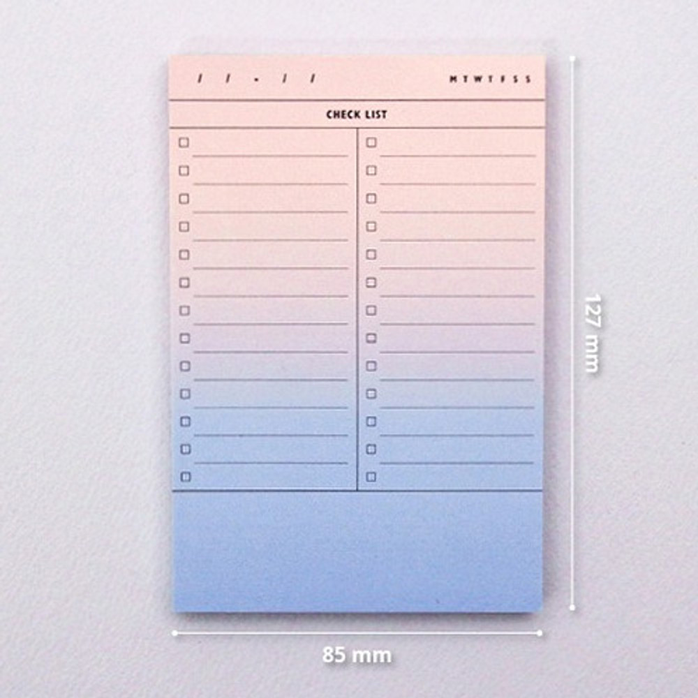 Size of Checklist plan memo notepad