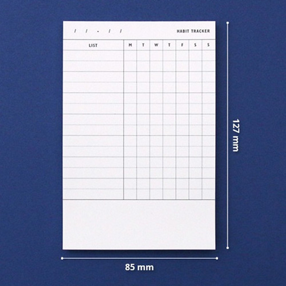 Size of Habit tracker memo notepad