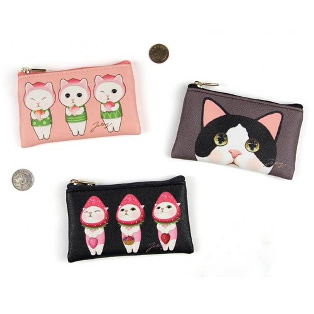 Jetoy Choo Choo cat flat zipper card case