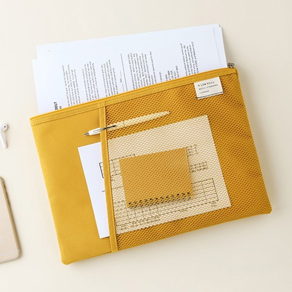 Mustard - Livework A low hill basic mesh pocket file pouch ver2