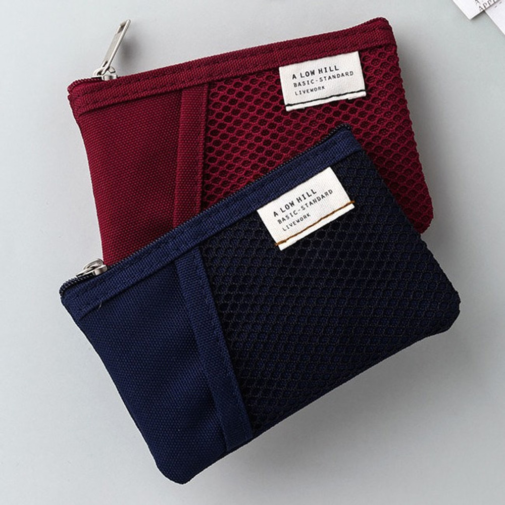 Raspberry / Navy - Livework A low hill basic mesh pocket small pouch ver2