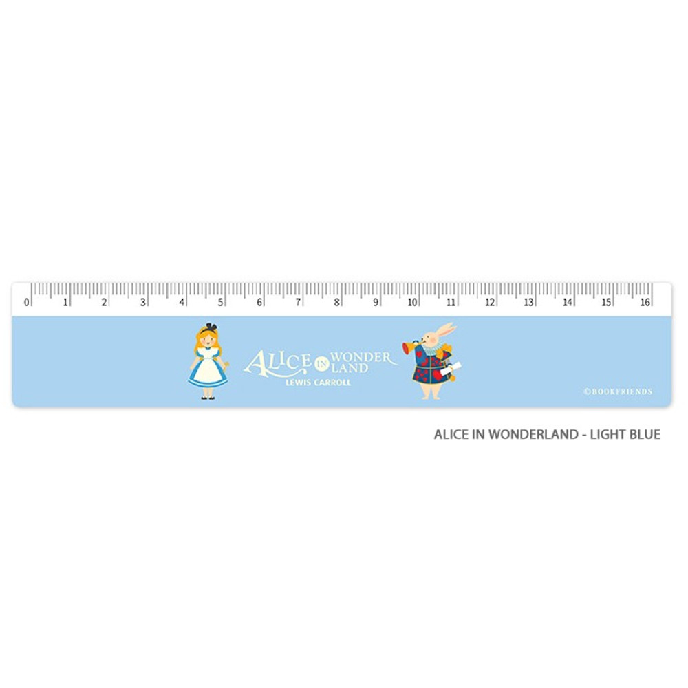 Alice in wonderland - light blue - World literature 16cm plastic ruler