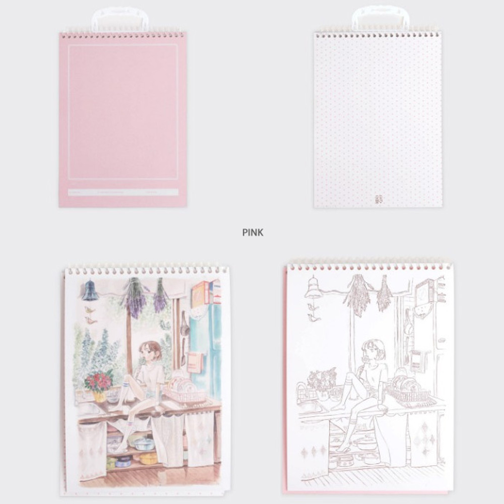 Pink - SOSOMOONGOO Time together medium spiral drawing notebook