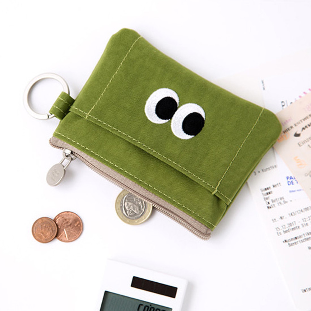 Lime - Livework Som Som stitching card case with key ring ver2
