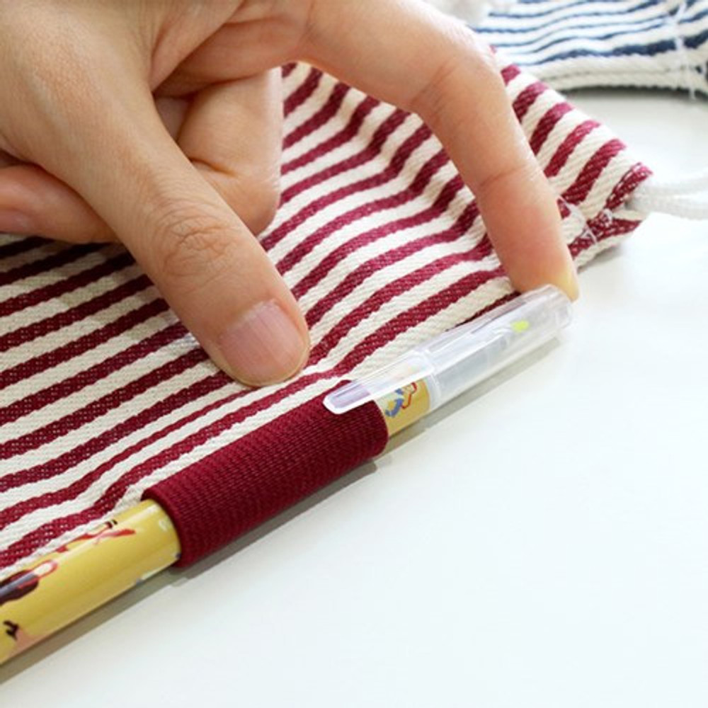Pen holder - Bookfriends Stripe small drawstring pouch