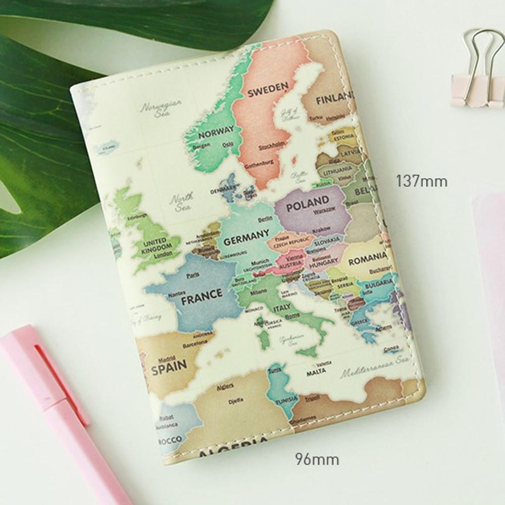 Size - Indigo World map pattern passport cover case holder