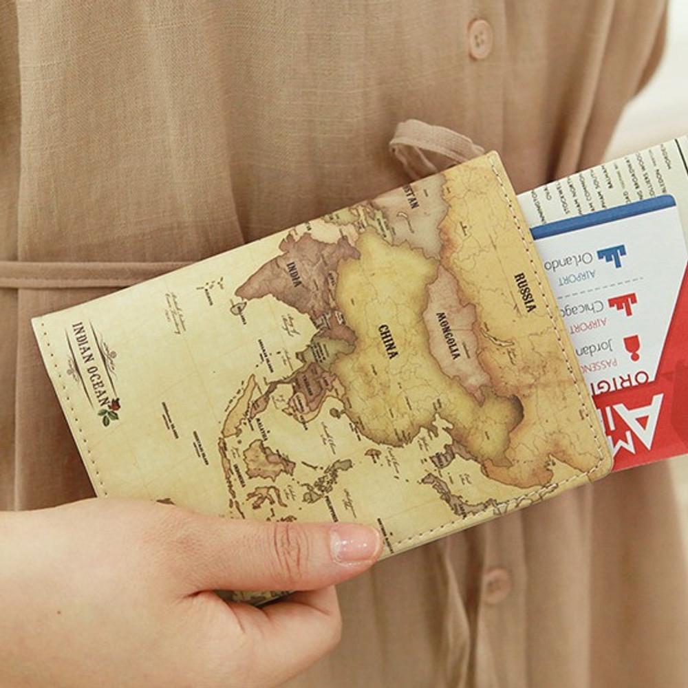 Antique - Indigo World map pattern passport cover case holder