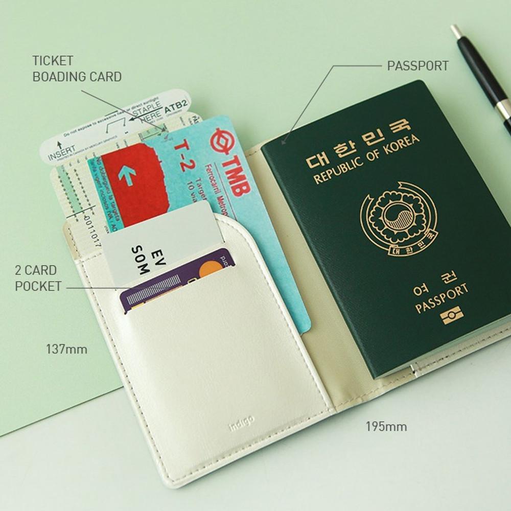 Composition - Indigo World map pattern passport cover case holder