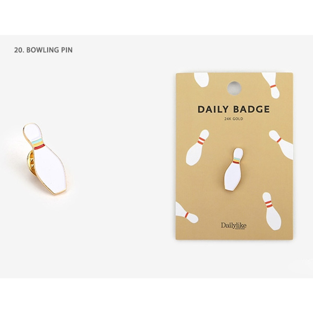 20 Bowling pin - Dailylike Daily 24k gold plated badge