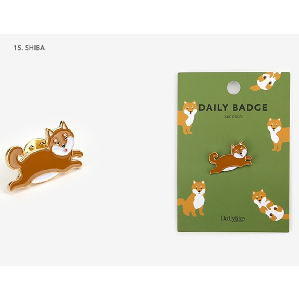 15 Shiba - Dailylike Daily 24k gold plated badge