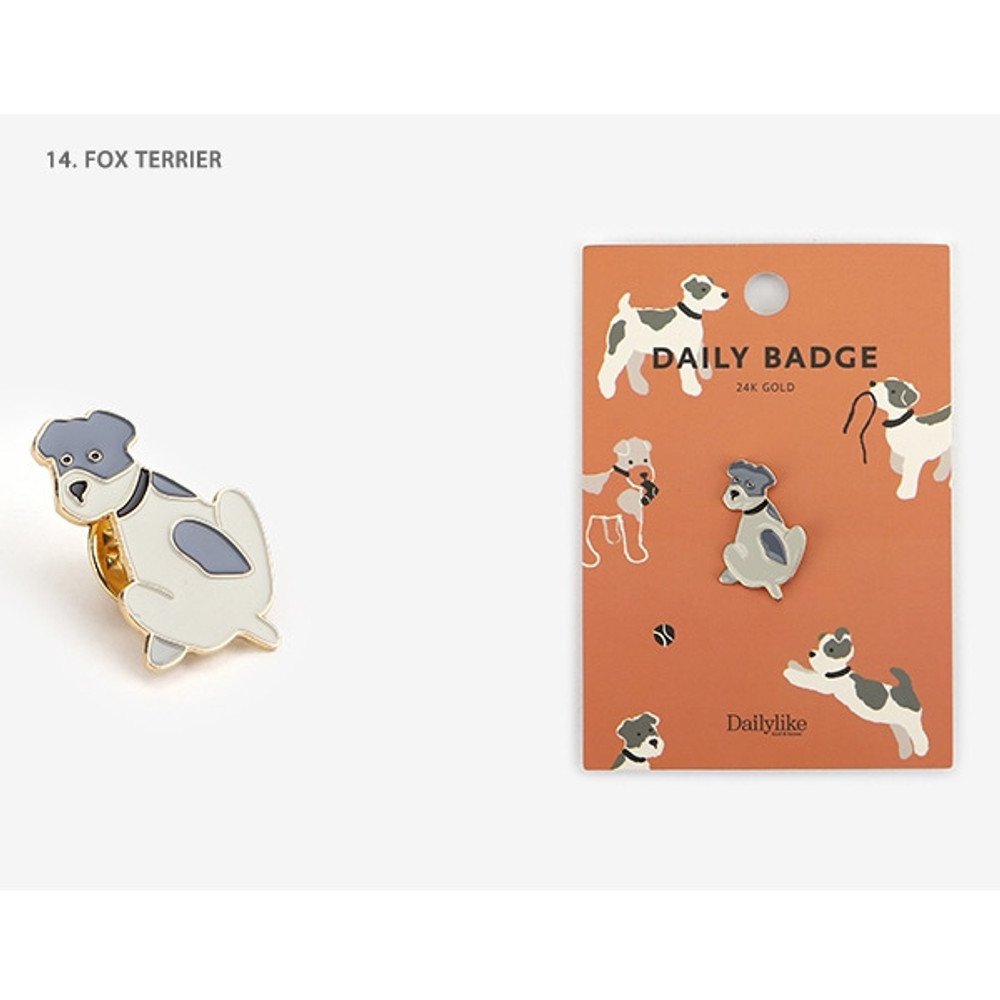 14 Fox terrier - Dailylike Daily 24k gold plated badge