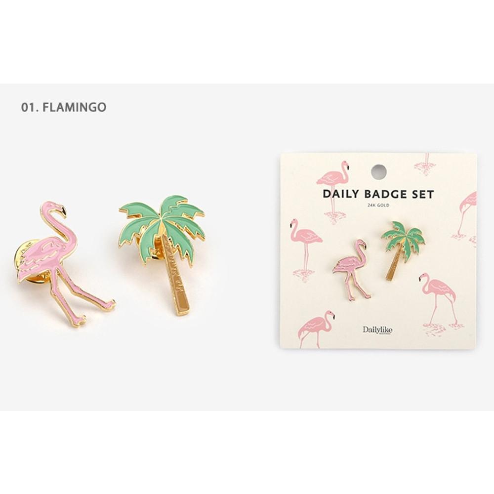 01.Flamingo - Daily 24k gold plated badge set