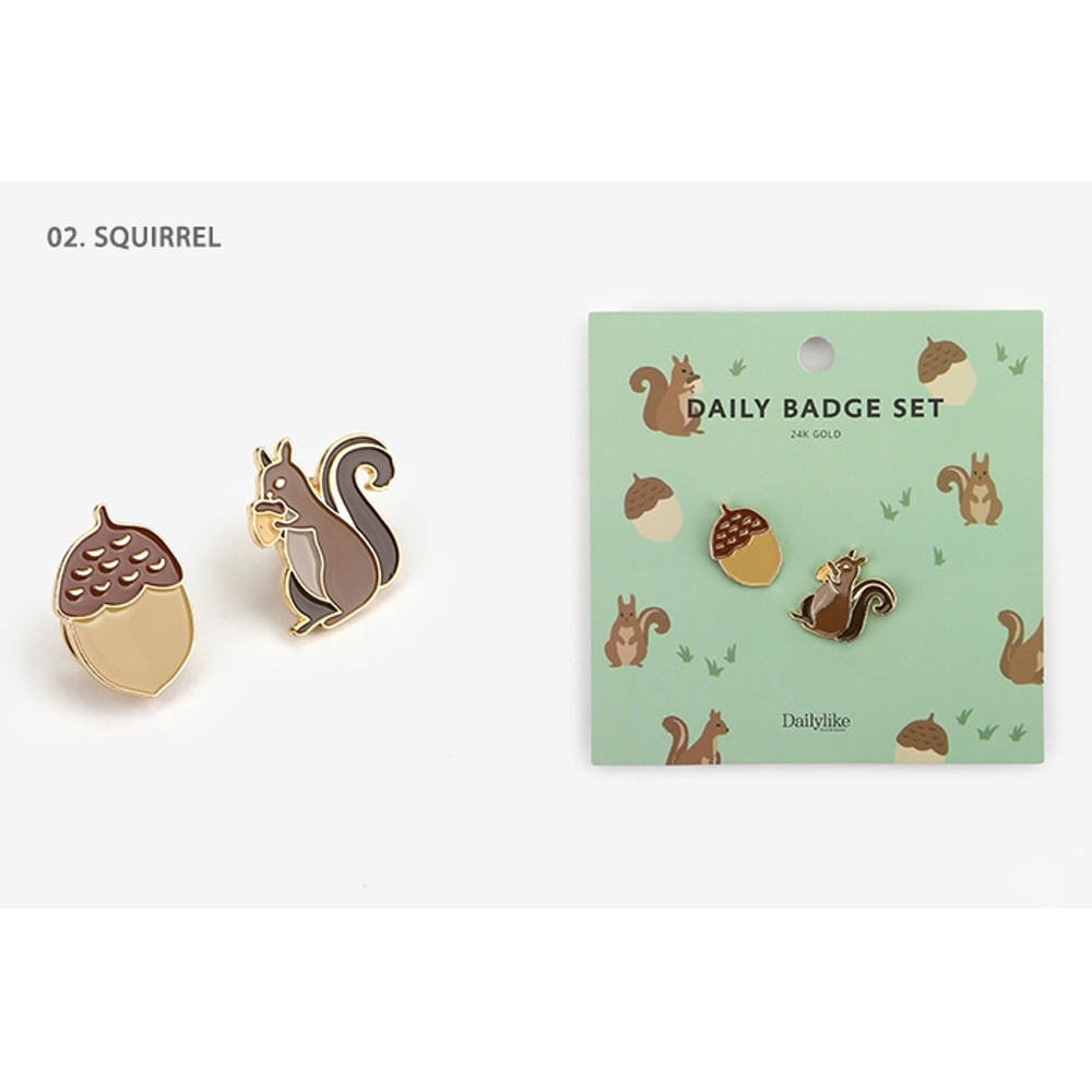 02.Squirrel - Daily 24k gold plated badge set