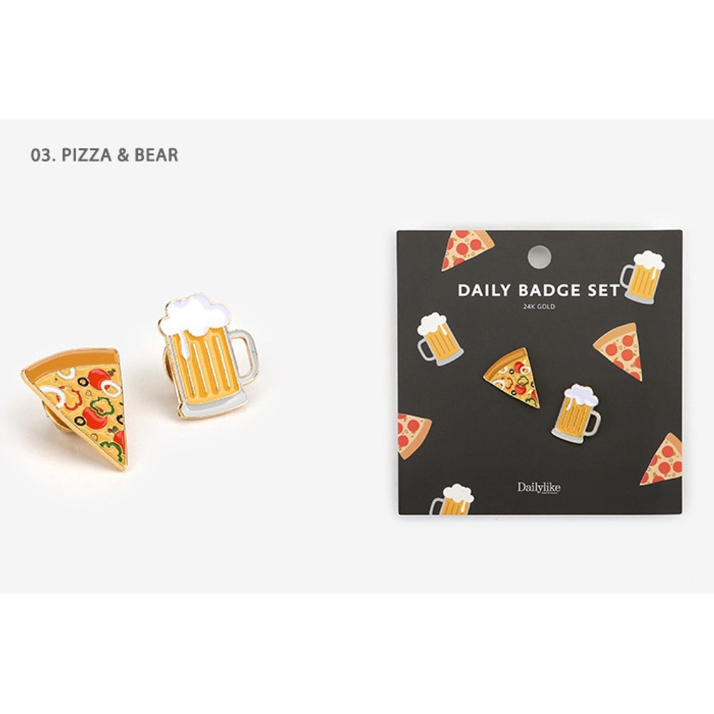 03.Pizza & Beer - Daily 24k gold plated badge set