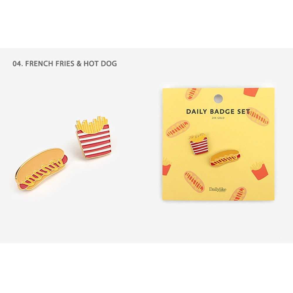 04.French fries & Hot dog - Daily 24k gold plated badge set