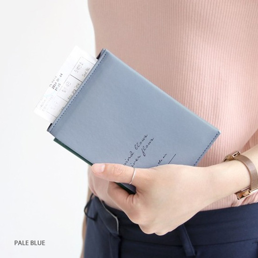 Leather Passport Cover Pale Blue
