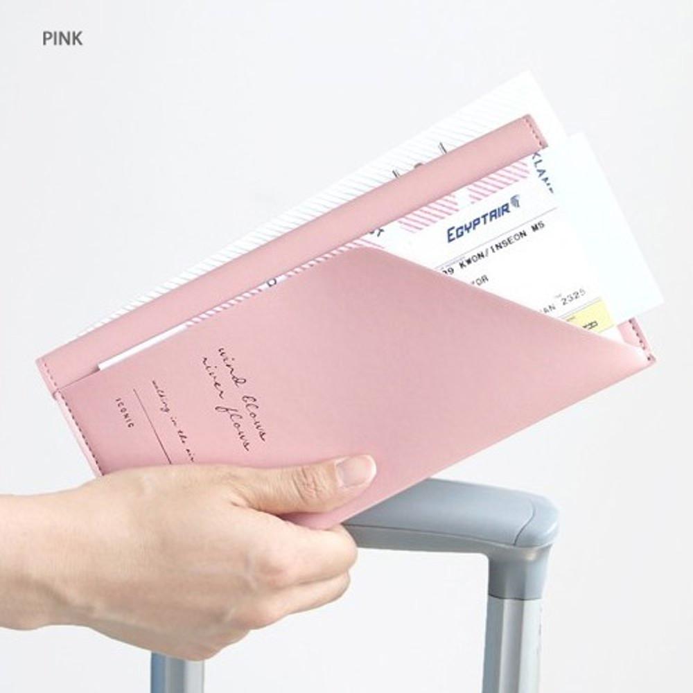 Pink -Iconic Slit passport cover case holder wallet