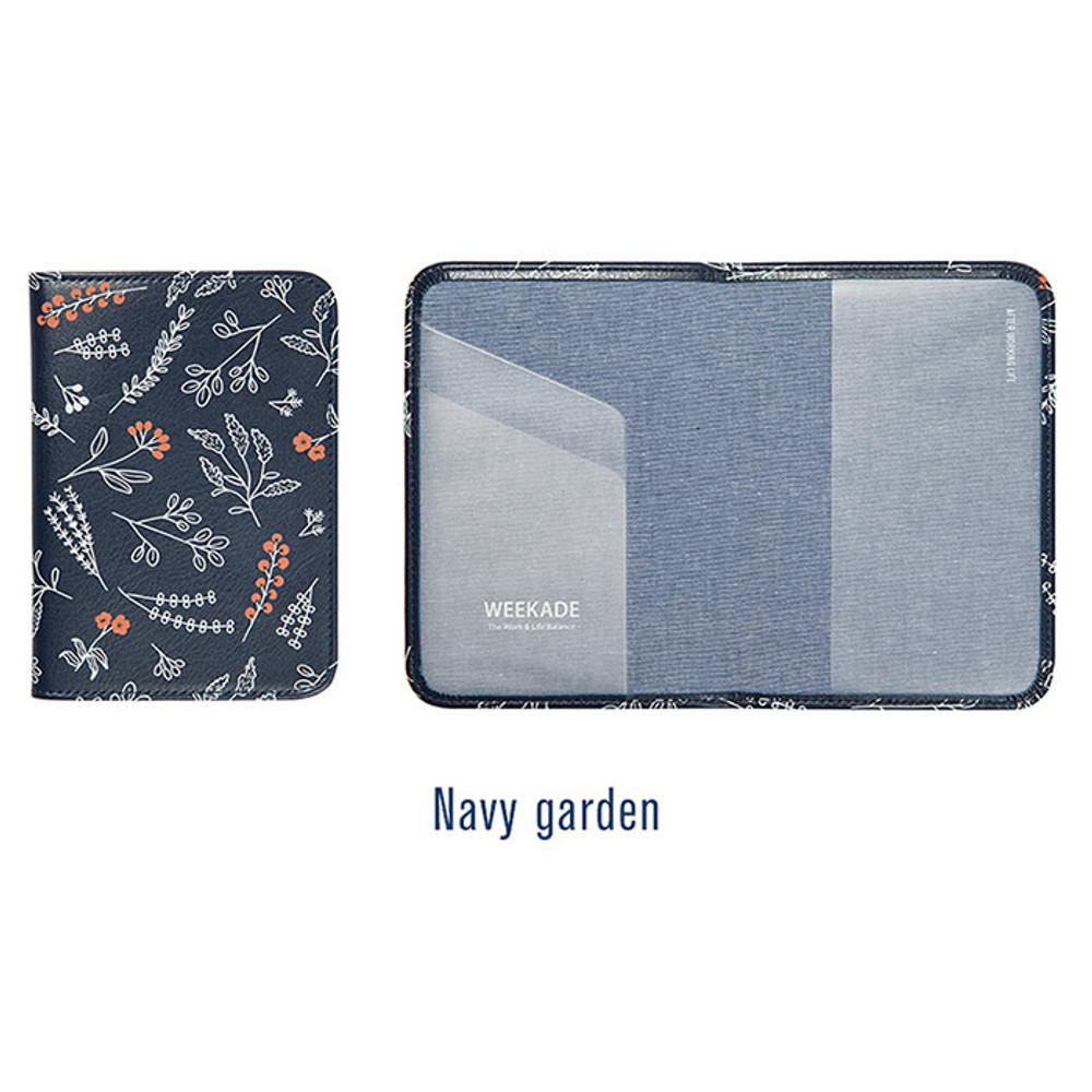 Navy garden - Antenna shop Weekade botanical travel passport holder case