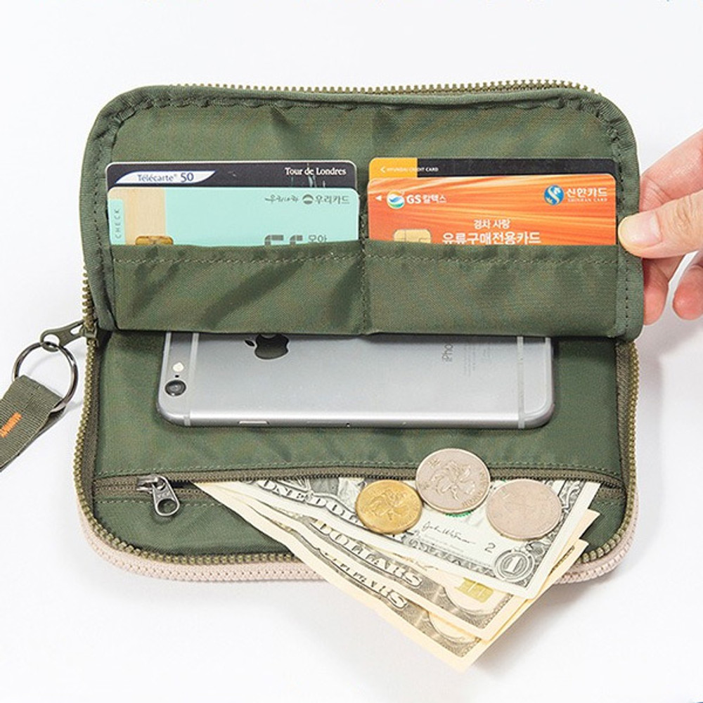 Front - Family travel double passport pouch bag