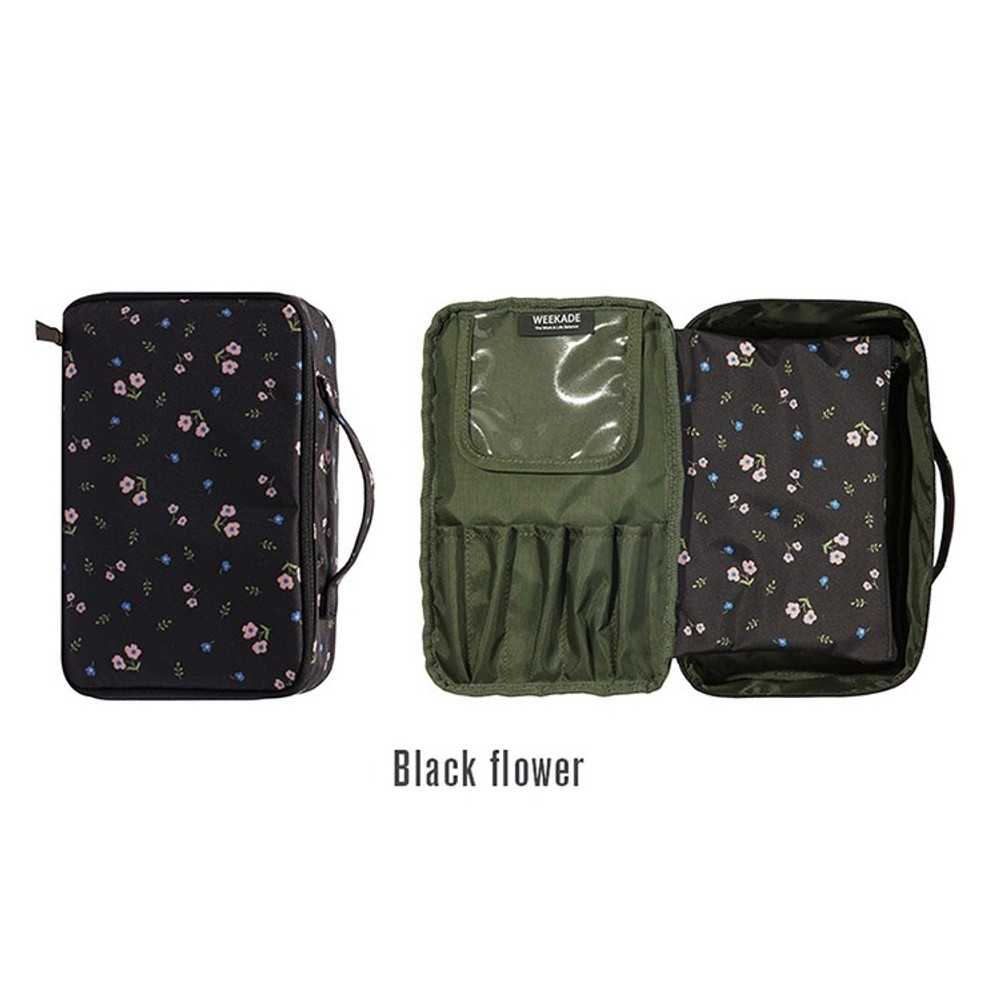 Black - Weekade botanical cosmetic zipper pouch with handle