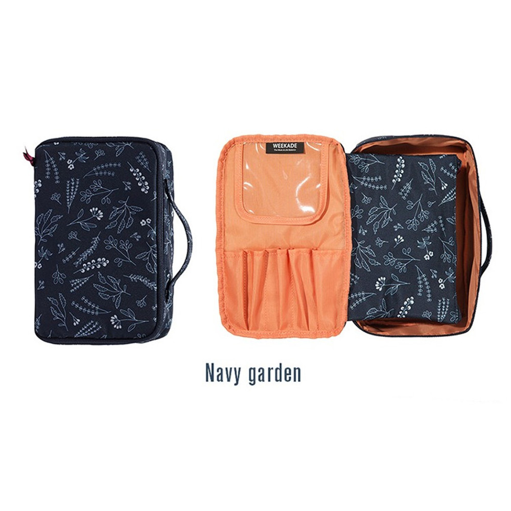 Navy - Weekade botanical cosmetic zipper pouch with handle