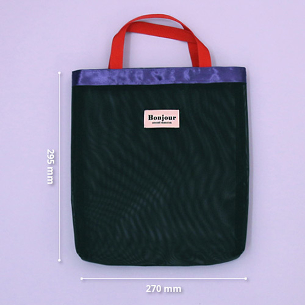 Size - Second Mansion Bonjour daily mesh tote bag