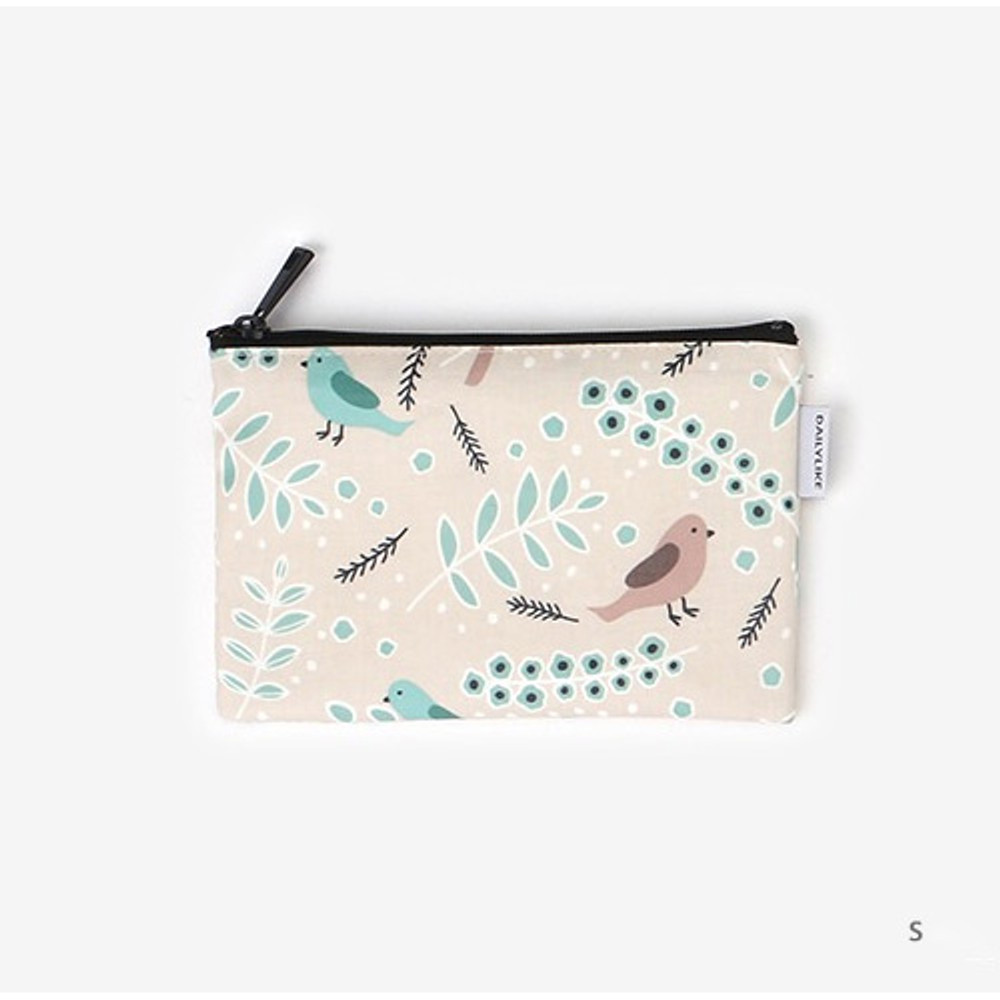 Small - Laminated cotton fabric zipper pouch - Air in forest