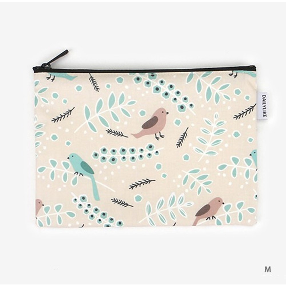 Medium - Laminated cotton fabric zipper pouch - Air in forest