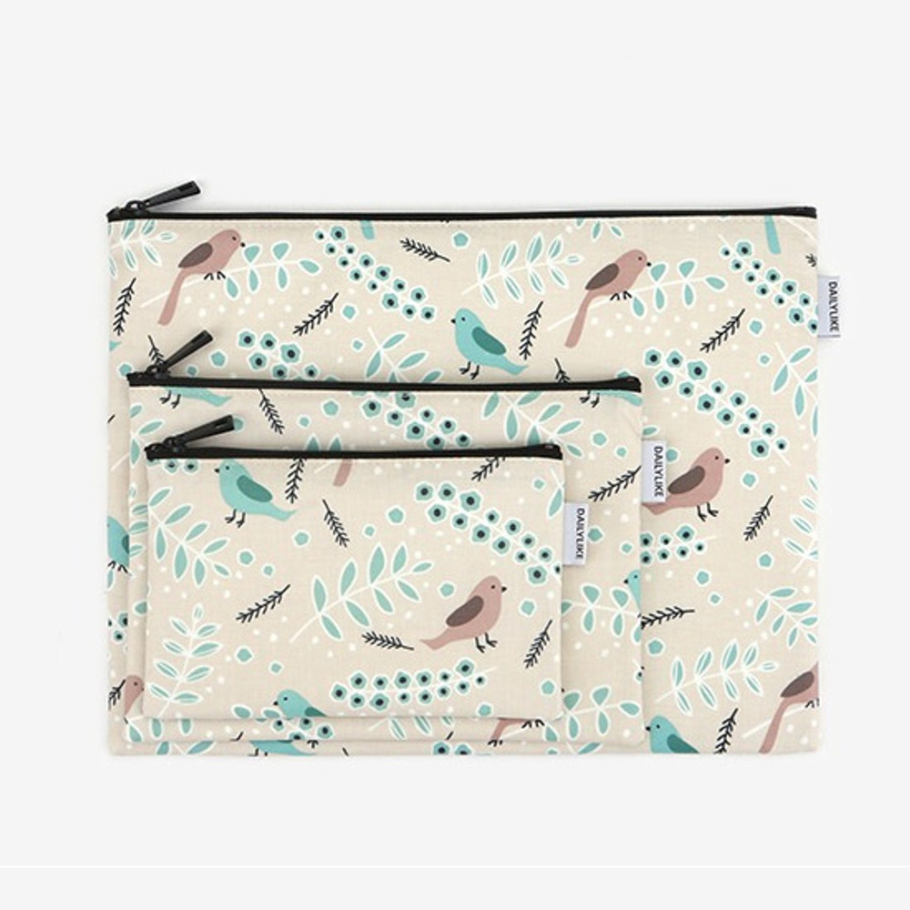 Dailylike Laminated cotton fabric zipper pouch - Air in forest