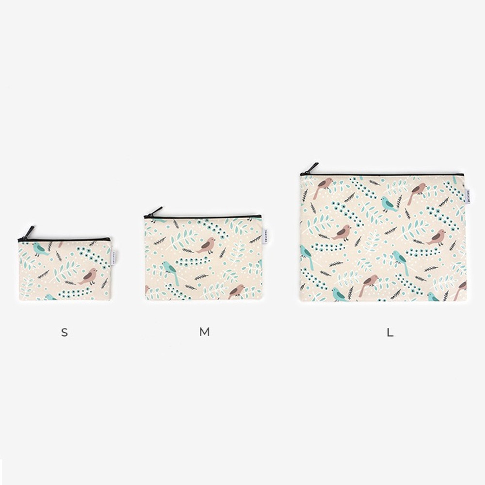 Size - Laminated cotton fabric zipper pouch - Air in forest