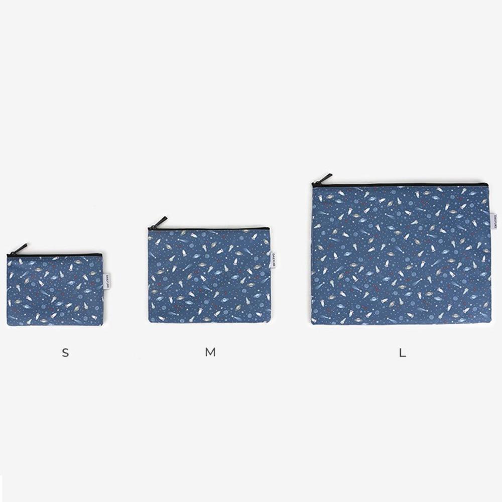 Size - Laminated cotton fabric zipper pouch - Universe