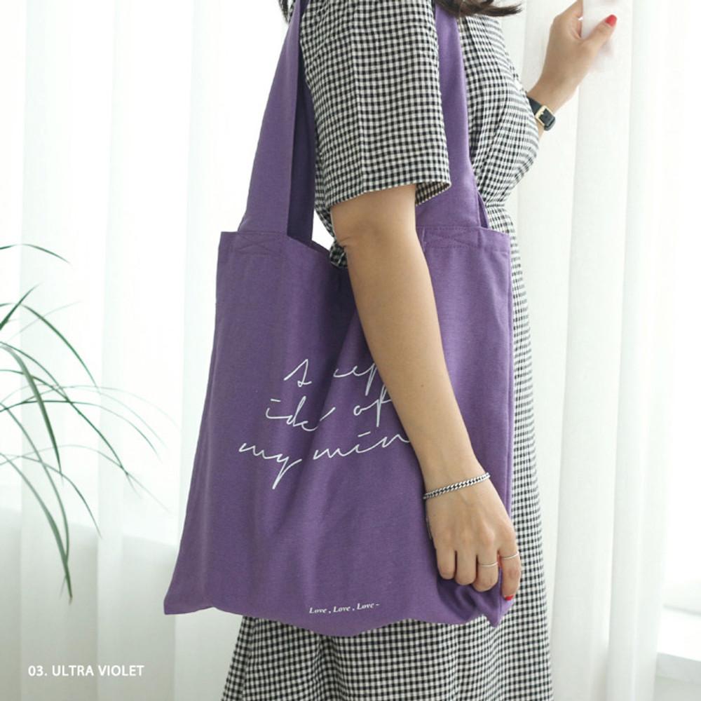 Ultra violet - Mind linen fabric daily shoulder bag