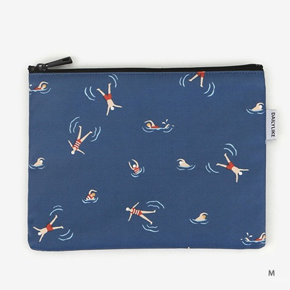 Medium - Laminated cotton fabric zipper pouch - Swimming