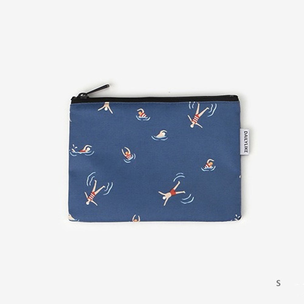 Small - Laminated cotton fabric zipper pouch - Swimming