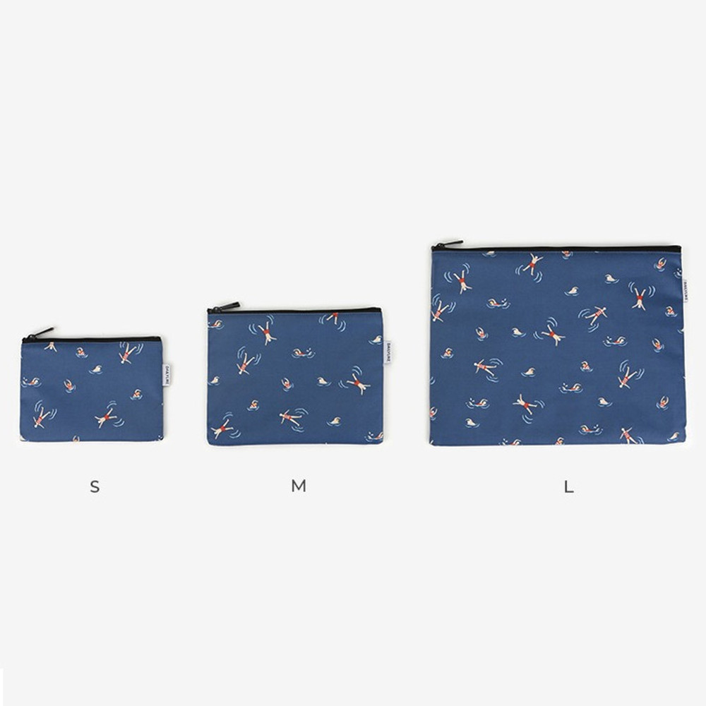 Size - Laminated cotton fabric zipper pouch - Swimming