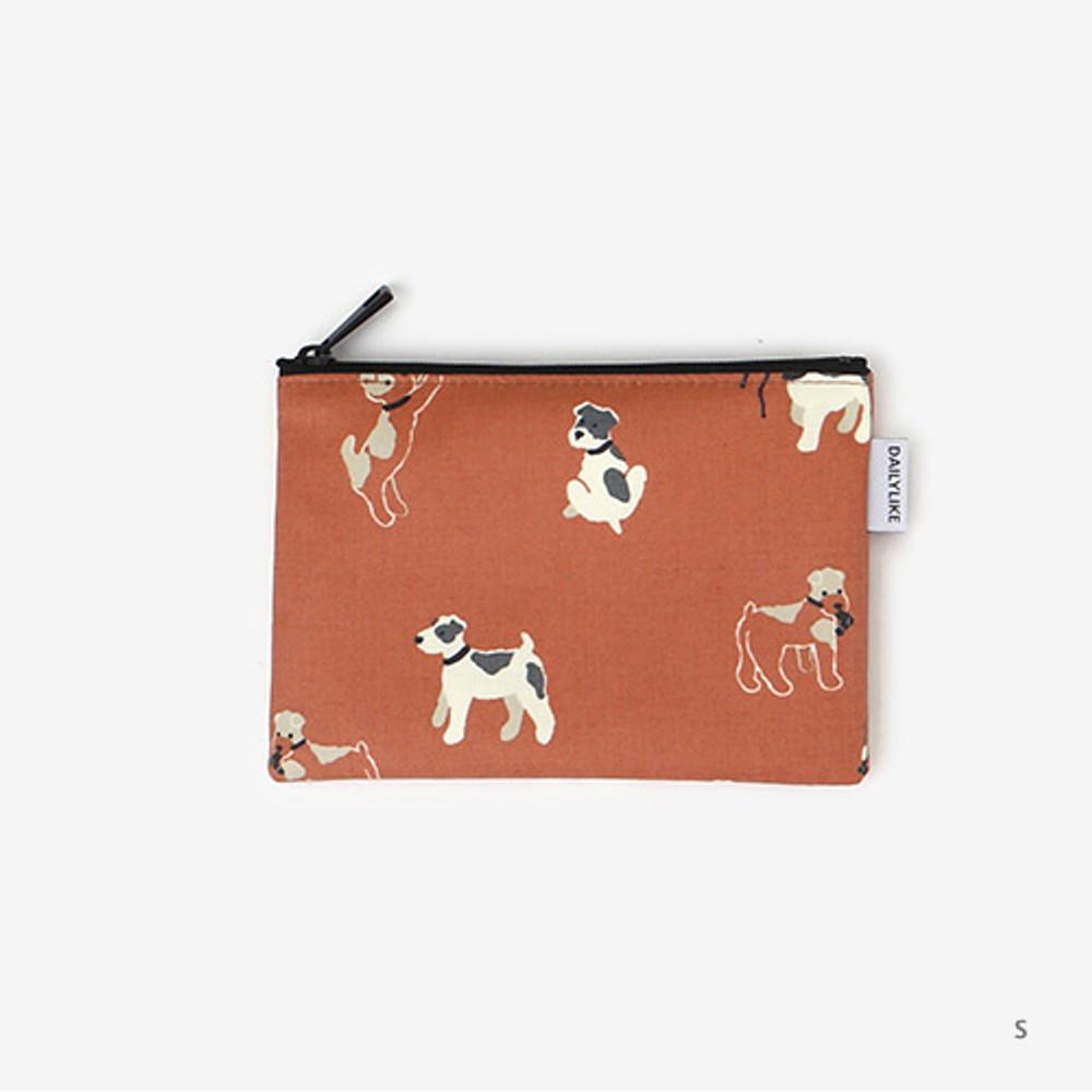 Small - Laminated cotton fabric zipper pouch - Fox terrier