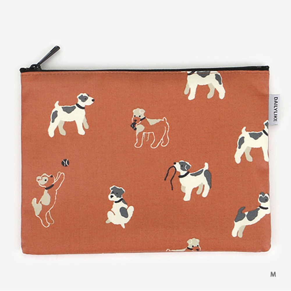 Medium - Laminated cotton fabric zipper pouch - Fox terrier