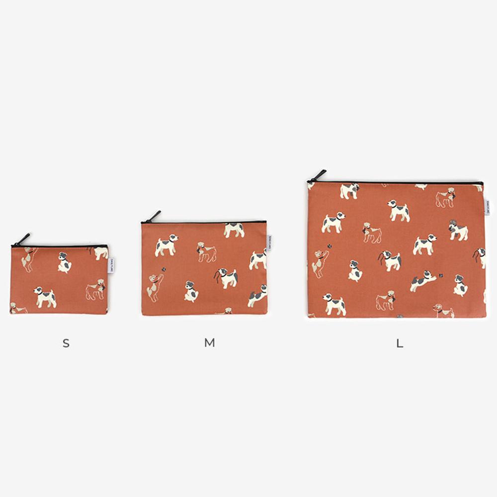 Size - Laminated cotton fabric zipper pouch - Fox terrier