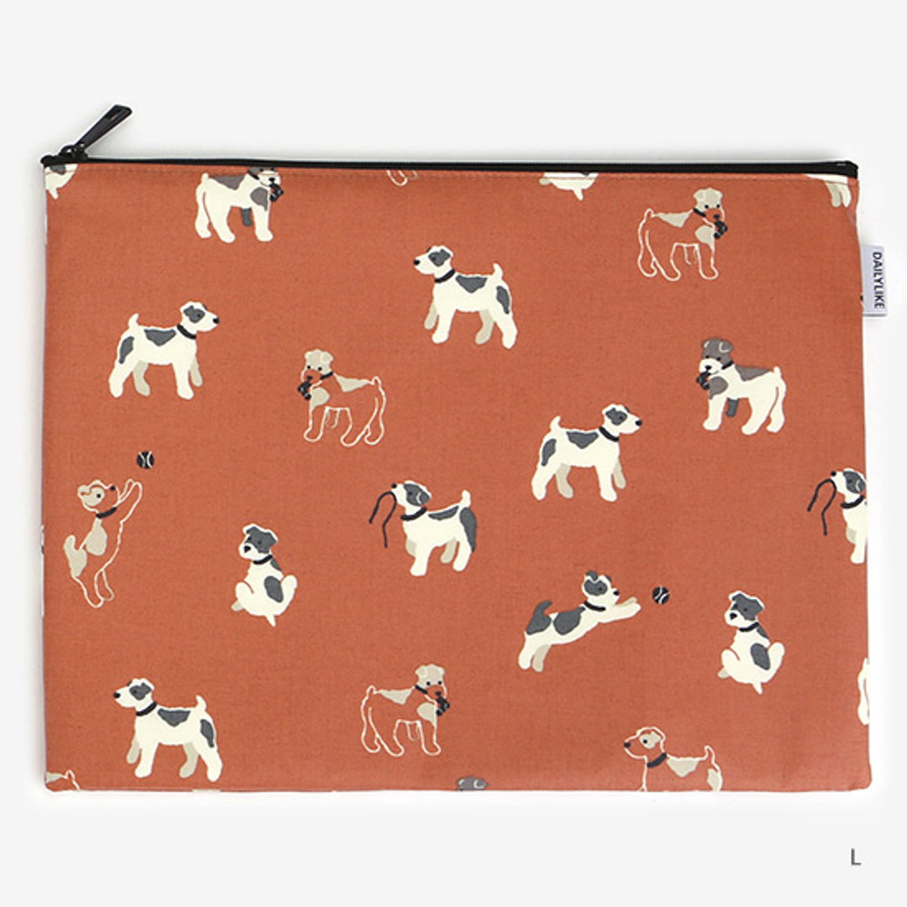 Large - Laminated cotton fabric zipper pouch - Fox terrier