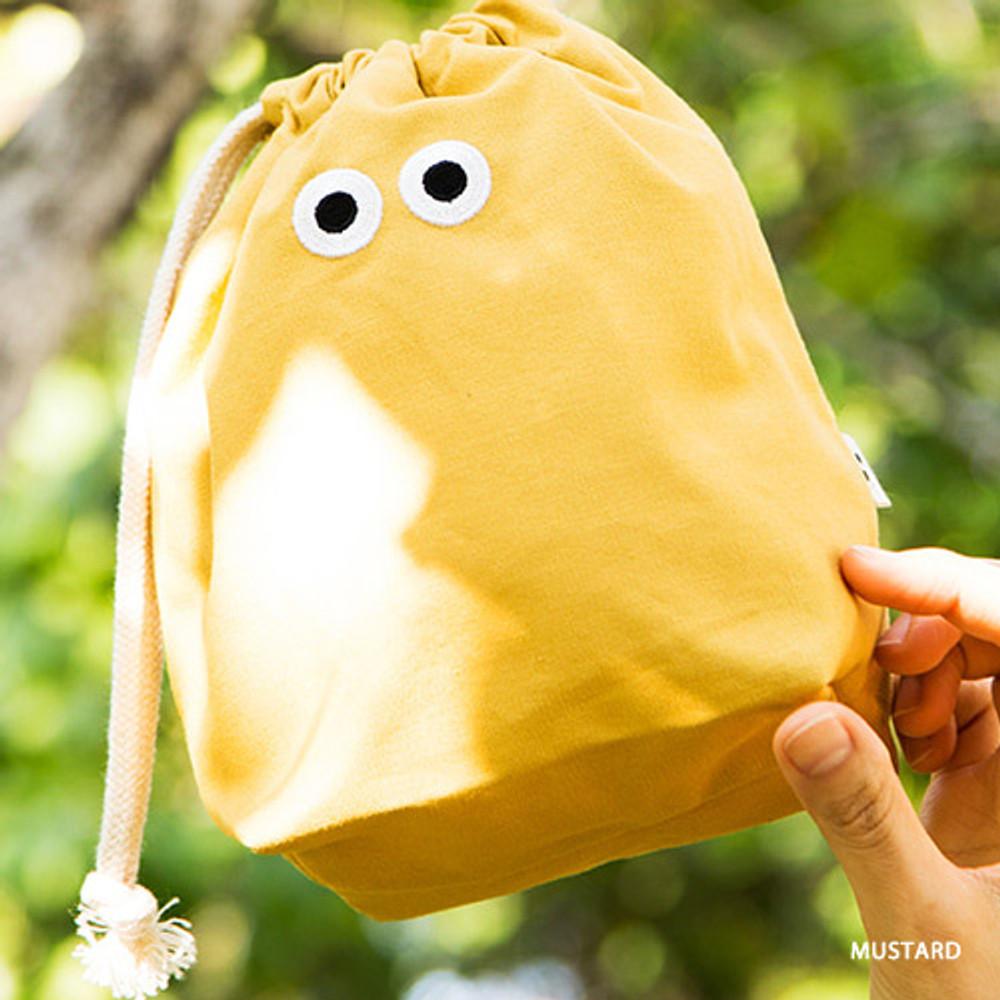 Mustard - Livework Som Som stitching drawstring pouch