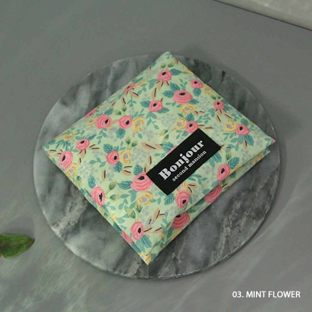 03 Mint flower - women's pad pouch cotton pouch