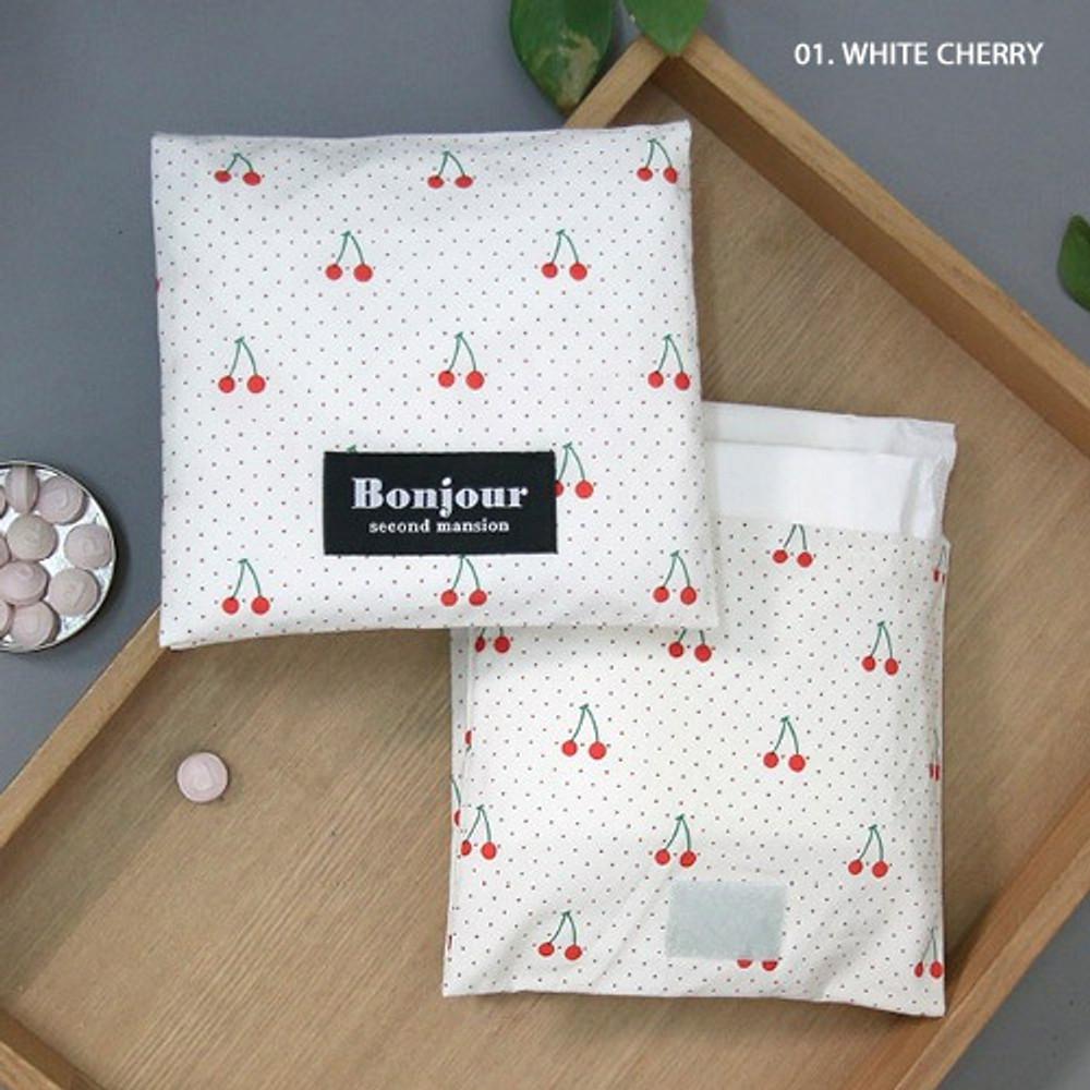 01 White cherry - women's pad pouch cotton pouch