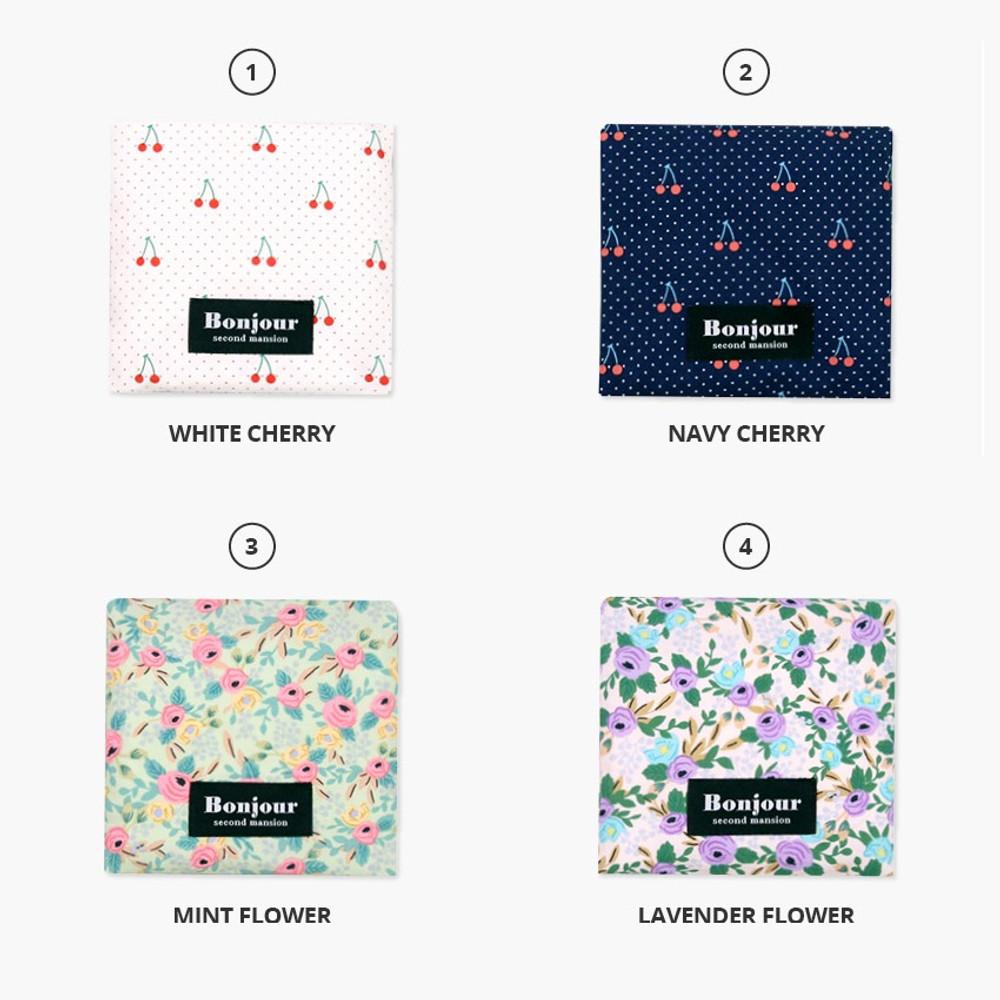 Option - Bonjour pattern womens pad pouch cotton pouch