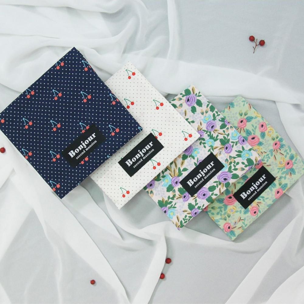 Bonjour pattern womens pad pouch cotton pouch