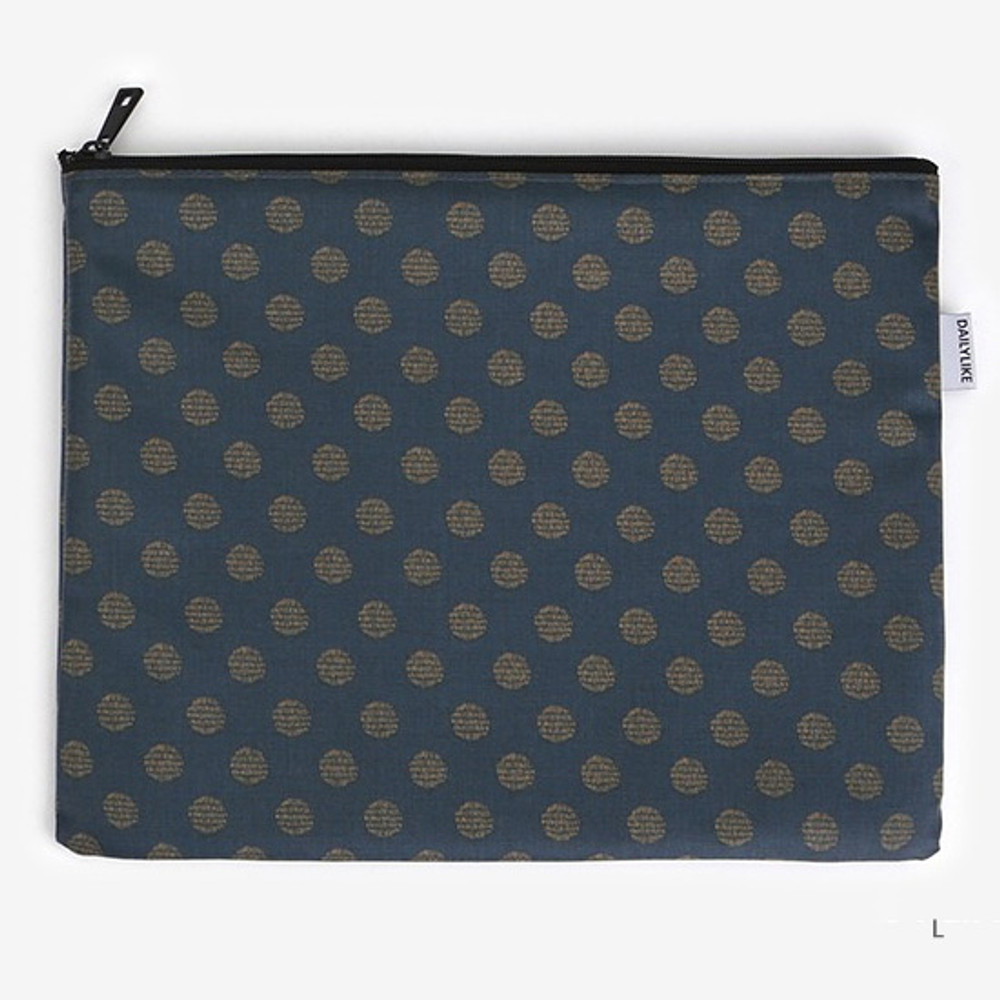 Large - Laminated cotton fabric zipper pouch - Full moon
