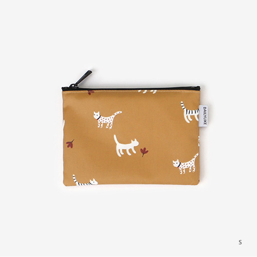 Small - Laminated cotton fabric zipper pouch - Alley cat