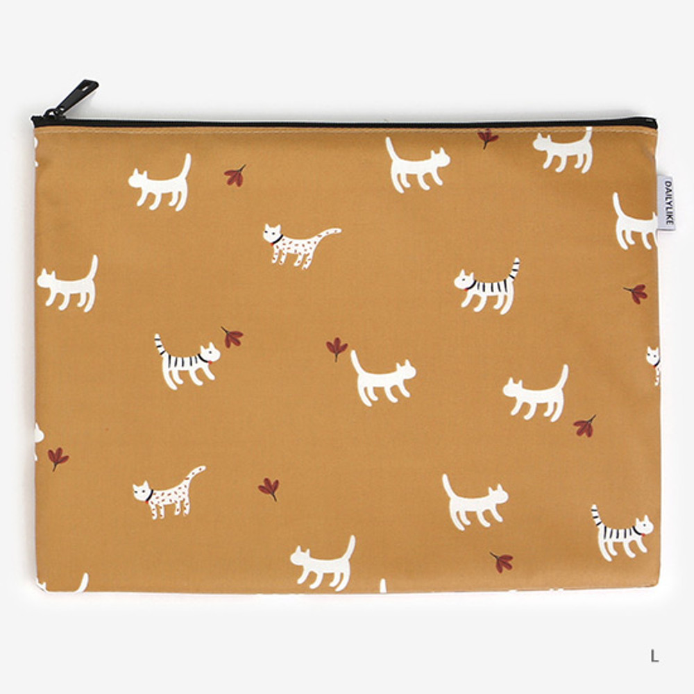 Large - Laminated cotton fabric zipper pouch - Alley cat
